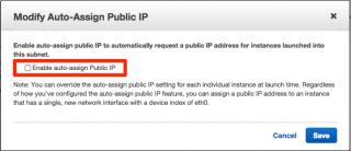Auto-Assign Public IPの設定モーダルダイアログ