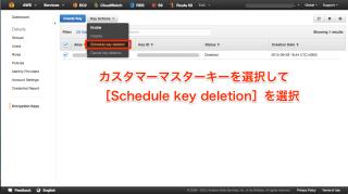 Schedule key deletionを選択