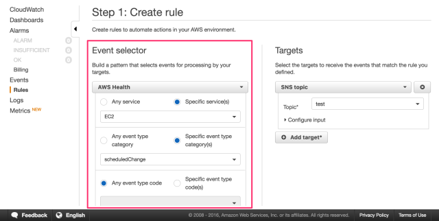CloudWatch Events Selector